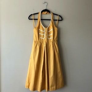Anthropologie Floreat mustard anchors aweigh dress